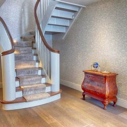 ST097. Two curved solid Oak staircases (Oak stained & painted)