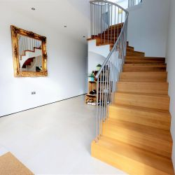 ST099. Zigzag staircase (Oak and painted Birch) with stainless steel