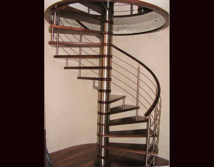 dark wooden spiral stairs