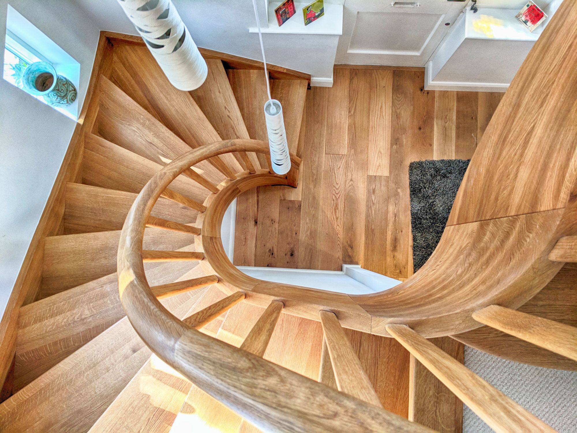 Curved solid Oak staircase