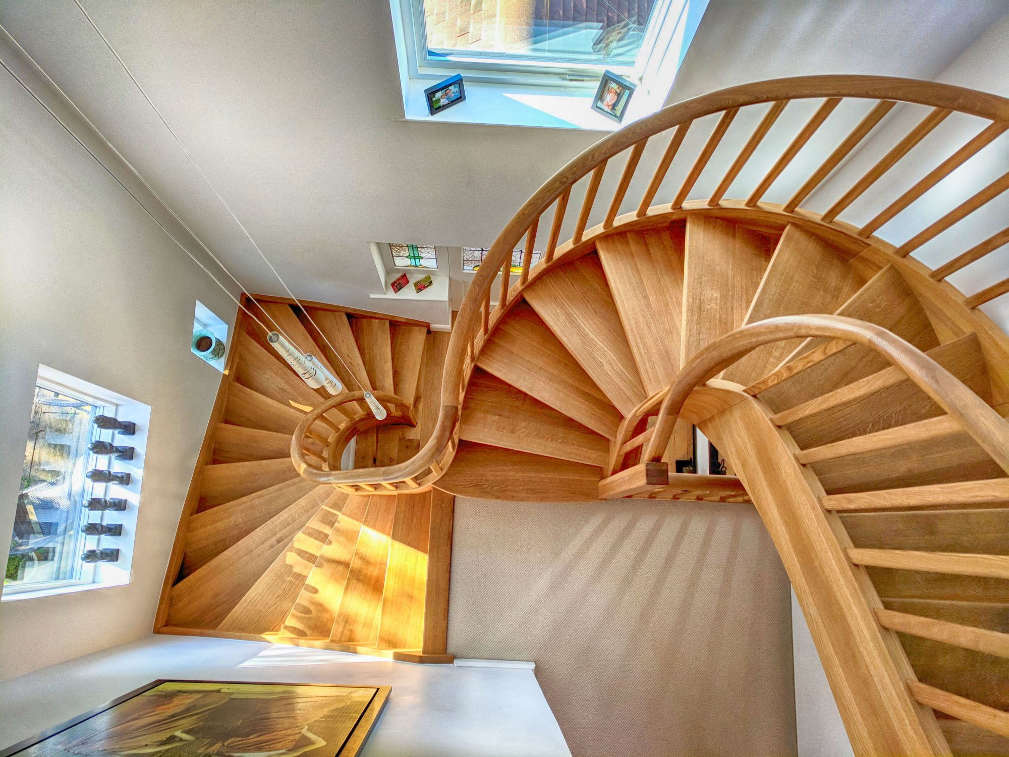 A set of custom built wooden stairs