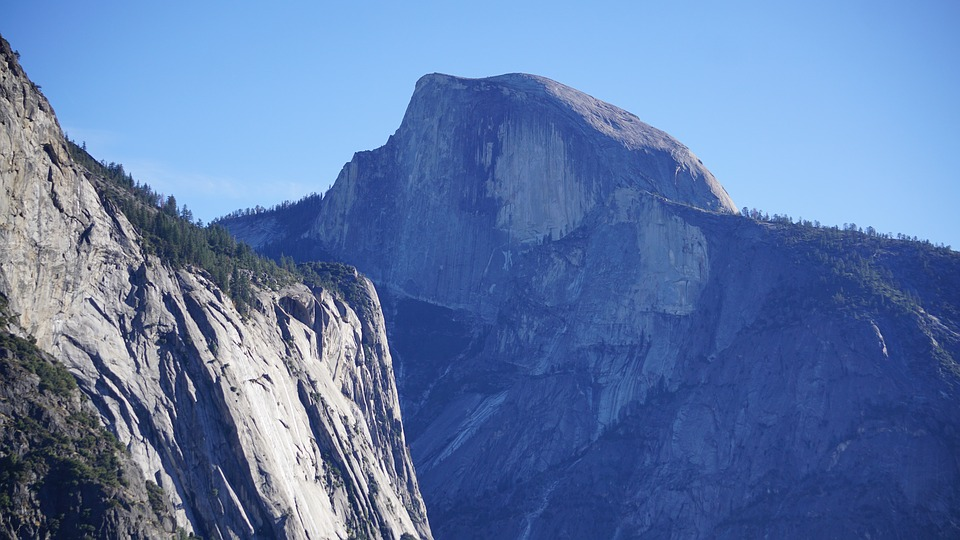 The half dome formation in Yosemite National Park, California, USA