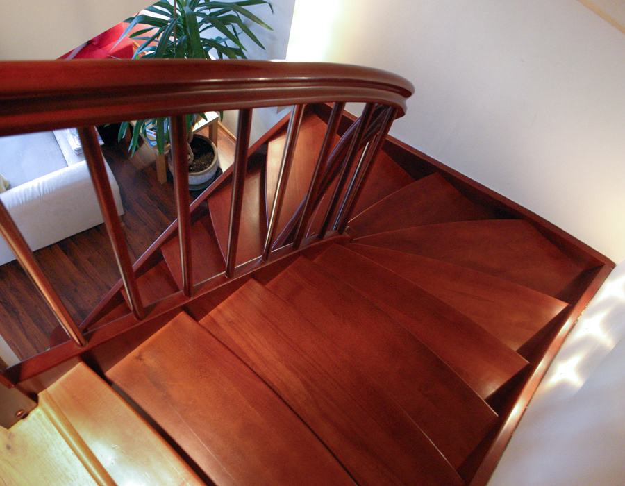 Stained beech stairs with lights by WoodenStairs