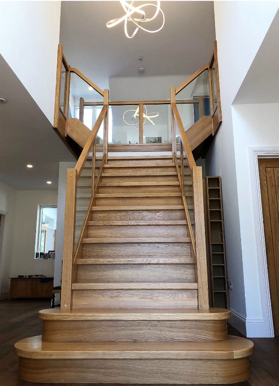 Solid Oak staircase with Glass balustrade