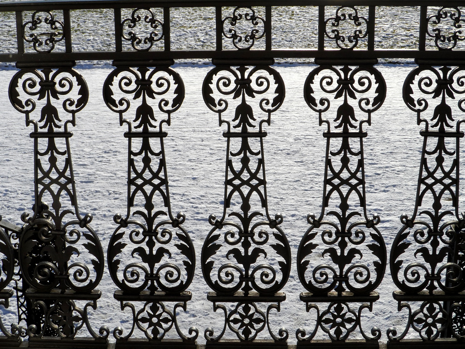 An ornate cast iron balustrade